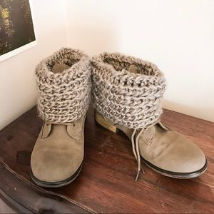 Sweater Knit Tan Boots Booties Lace Up